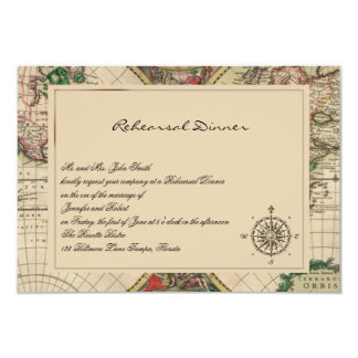 Antique Old World Map Wedding Rehearsal Card