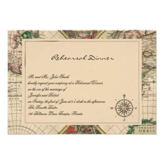 Antique Old World Map Wedding Rehearsal Personalized Announcements