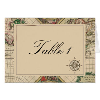 Antique Old World Map Wedding Table Number Cards