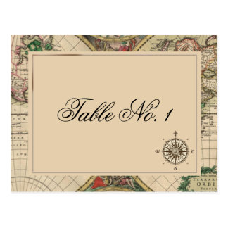 Antique Old World Map Wedding Table Number Postcard