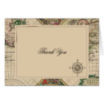 Antique Old World Map Wedding Thank You Stationery Note Card
