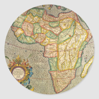 Antique Old World Mercator Map of Africa, 1633 Classic Round Sticker