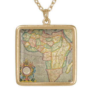 Antique Old World Mercator Map of Africa, 1633 Gold Plated Necklace