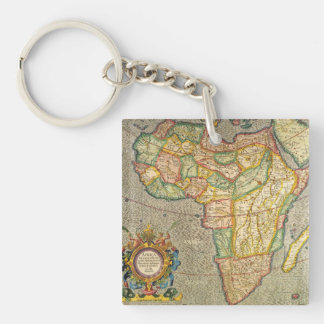 Antique Old World Mercator Map of Africa, 1633 Keychain