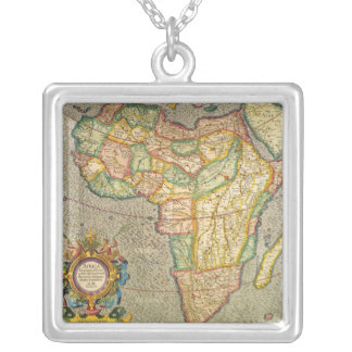 Antique Old World Mercator Map of Africa, 1633 Square Pendant Necklace