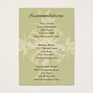 Antique Olive Floral Accommodations Card