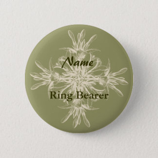 Antique Olive Floral Pinback Button