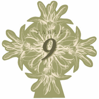 Antique Olive Floral Table Number Cut Out