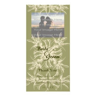 Antique Olive Floral Thank You Photo Card