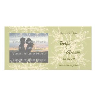 Antique Olive Floral Wedding Photo Card