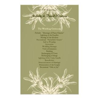 Antique Olive Floral Wedding Program