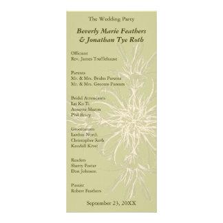 Antique Olive Floral Wedding Program Customized Rack Card
