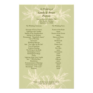 Antique Olive Floral Wedding Program Stationery