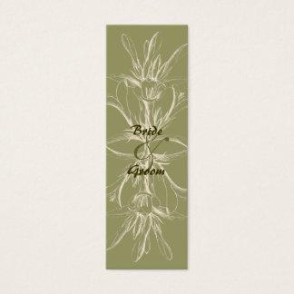 Antique Olive Floral Wedding Table Number Mini Business Card