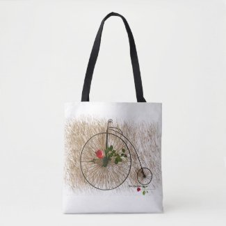 Antique One Wheel Bike With Garden Rose Tote Bag