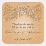 Antique Orange Roses Wedding Sticker