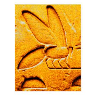 ANTIQUE ORANGE YELLOW EGYPTIAN HONEY BEE BEEKEEPER POSTCARD