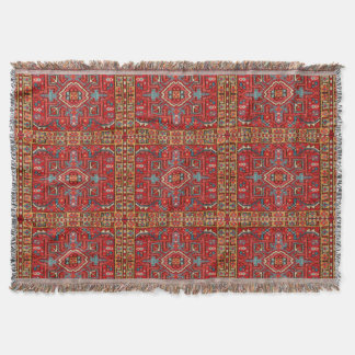 Antique Oriental Carpet Photo Print Repeat Pattern Throw Blanket