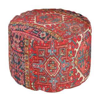 Antique Oriental Turkish or Persian Carpet Print Pouf