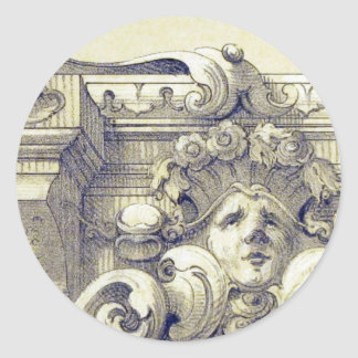 Antique ornament classic round sticker
