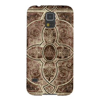 Antique ornate leather book cover cases for galaxy s5