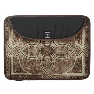 Antique ornate leather book cover sleeve for MacBook pro