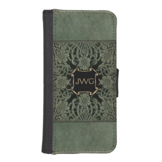 Antique Ornate Tooled Leather Monogram Wallet Phone Case For iPhone SE/5/5s