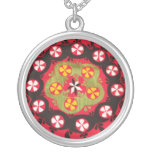 Antique Ottoman Embroidery Turkish floral design Round Pendant Necklace