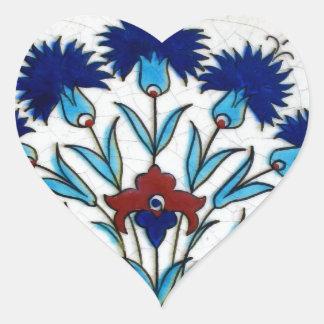 Antique Ottoman  Floral Tile Design Heart Sticker