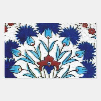 Antique Ottoman  Floral Tile Design Rectangular Sticker
