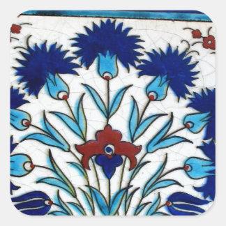 Antique Ottoman  Floral Tile Design Square Sticker