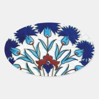 Antique Ottoman  Floral Tile Design Oval Sticker