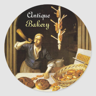 ANTIQUE OVEN  BAKER ,BAKERY BREAD SHOP CLASSIC ROUND STICKER