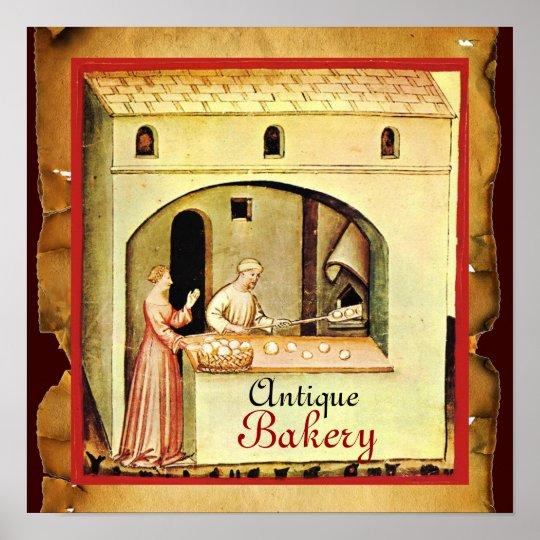 ANTIQUE OVEN  BAKER ,BAKERY BREAD SHOP POSTER