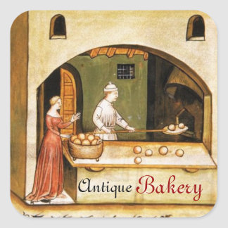 ANTIQUE OVEN  BAKER ,BAKERY BREAD SHOP SQUARE STICKER