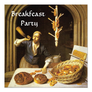 ANTIQUE OVEN  BAKERY BREAKFEAST PARTY 5.25X5.25 SQUARE PAPER INVITATION CARD