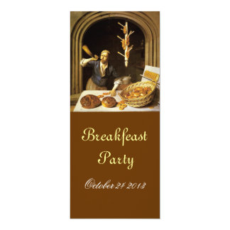 ANTIQUE OVEN  BAKERY BREAKFEAST PARTY 4X9.25 PAPER INVITATION CARD