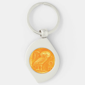 ANTIQUE OWL ,Gold Yellow Keychain
