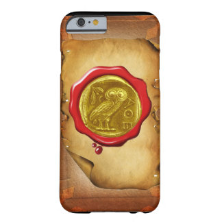 ANTIQUE OWL GOLD YELLOW RED WAX SEAL parchment Barely There iPhone 6 Case