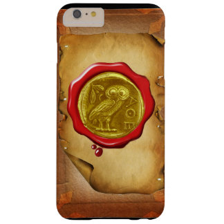 ANTIQUE OWL GOLD YELLOW RED WAX SEAL parchment Barely There iPhone 6 Plus Case