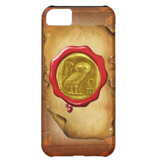 ANTIQUE OWL GOLD YELLOW RED WAX SEAL parchment Case For iPhone 5C