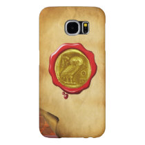 ANTIQUE OWL GOLD YELLOW RED WAX SEAL parchment Samsung Galaxy S6 Case