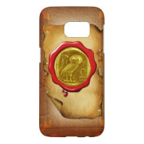 ANTIQUE OWL GOLD YELLOW RED WAX SEAL parchment Samsung Galaxy S7 Case