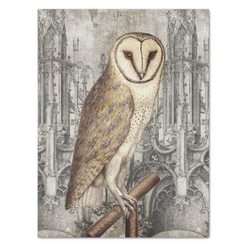 ANTIQUE OWL ON GOTHIC ARCHITECTURE _ LEFT MIRROR TISSUE PAPER