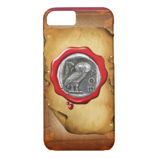 ANTIQUE OWL SILVER RED WAX SEAL parchment iPhone 7 Case