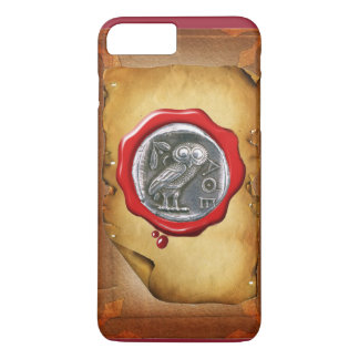 ANTIQUE OWL SILVER RED WAX SEAL parchment iPhone 7 Plus Case