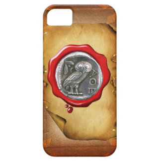 ANTIQUE OWL SILVER RED WAX SEAL parchment iPhone SE/5/5s Case