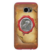 ANTIQUE OWL SILVER RED WAX SEAL parchment Samsung Galaxy S6 Case