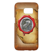ANTIQUE OWL SILVER RED WAX SEAL parchment Samsung Galaxy S7 Case