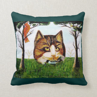 ANTIQUE PAINTING OF CAT WITH BIRD ON PILLOW